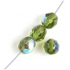 Fire polished 8mm Olivine Aurora Borealis Strung